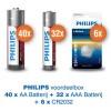 Voordeelpak Philips Power Alkaline - 40 x AA + 32 x AAA + 6 x CR2032